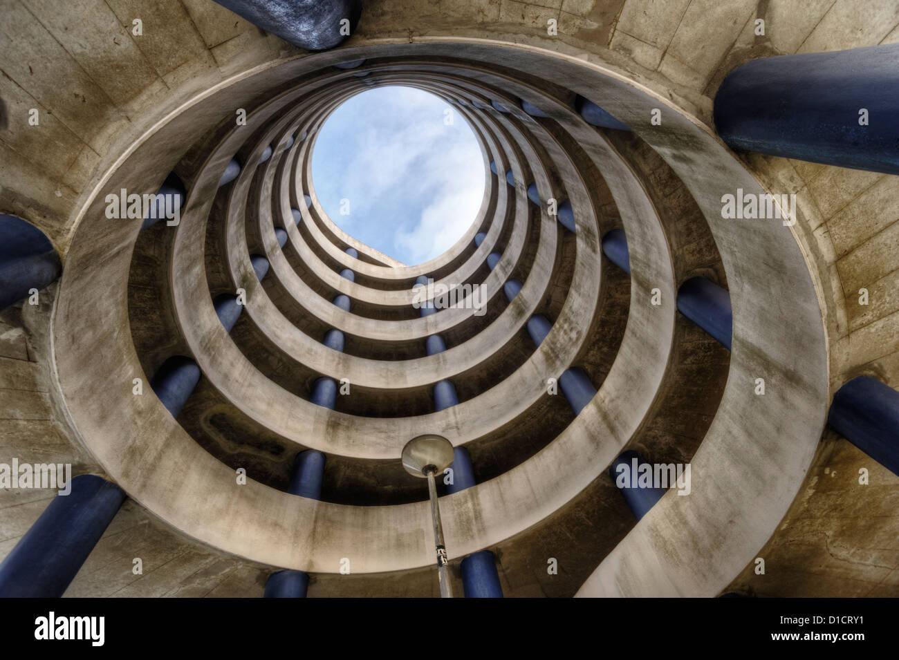 Spiral parking garage in Amsterdam, Netherlands, viewed from below Stock Photo