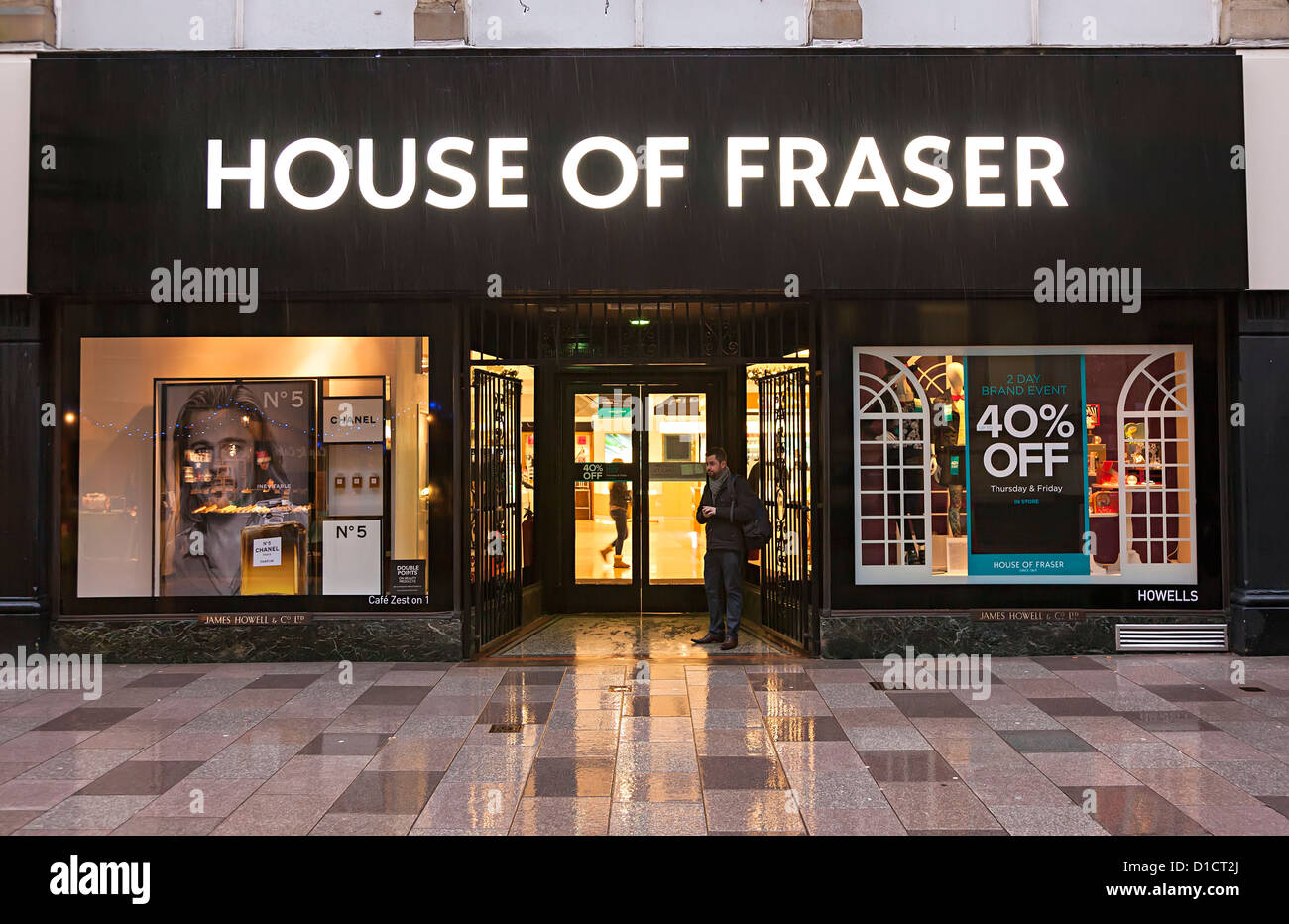 House of Fraser shop front with sale sign, Cardiff, Wales, UK - Stock Image