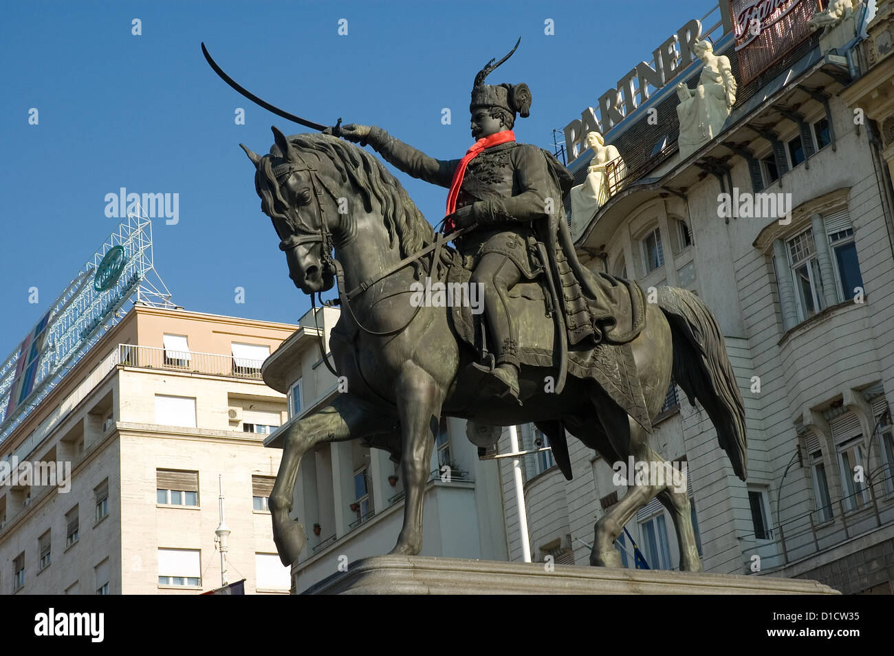Elk192-1034 Croatia, Zagreb, Ban Josip Jelacica statue Stock Photo