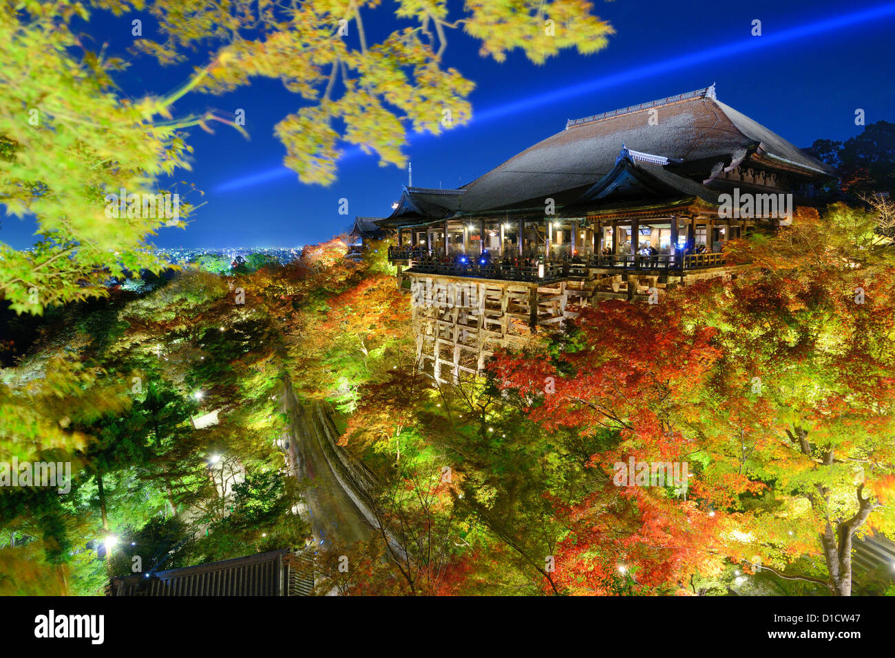 Kiyomizu-dera Temple in Kyoto, japan with nighttime illumination. - Stock Image