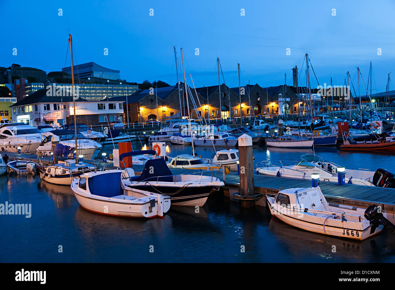 Marina at dusk, St Helier, Jersey, Channel Islands, UK - Stock Image