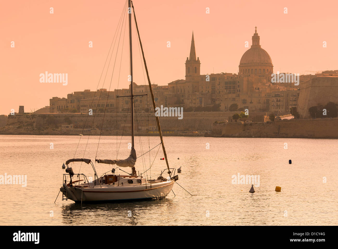 Malta, Skyline of Valletta - Stock Image