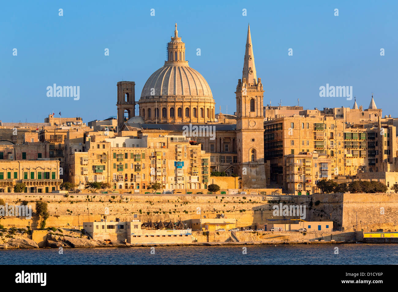 Malta, Valletta, skyline with St. Paul's Anglican Cathedral and Carmelite Church from Sliema, - Stock Image
