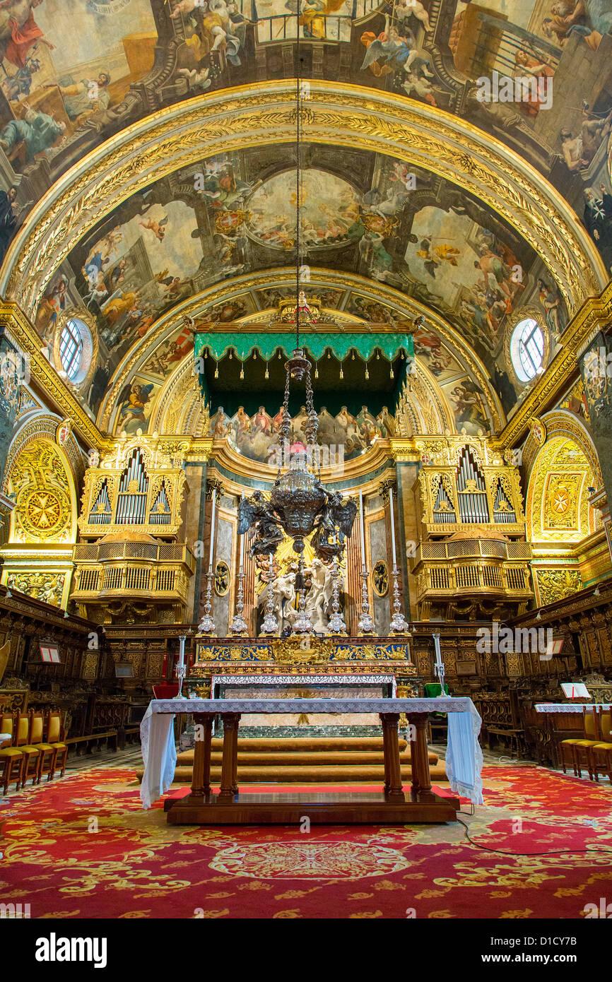 Interior of St. John's Co-Cathedral, Valletta, Malta, Europe - Stock Image