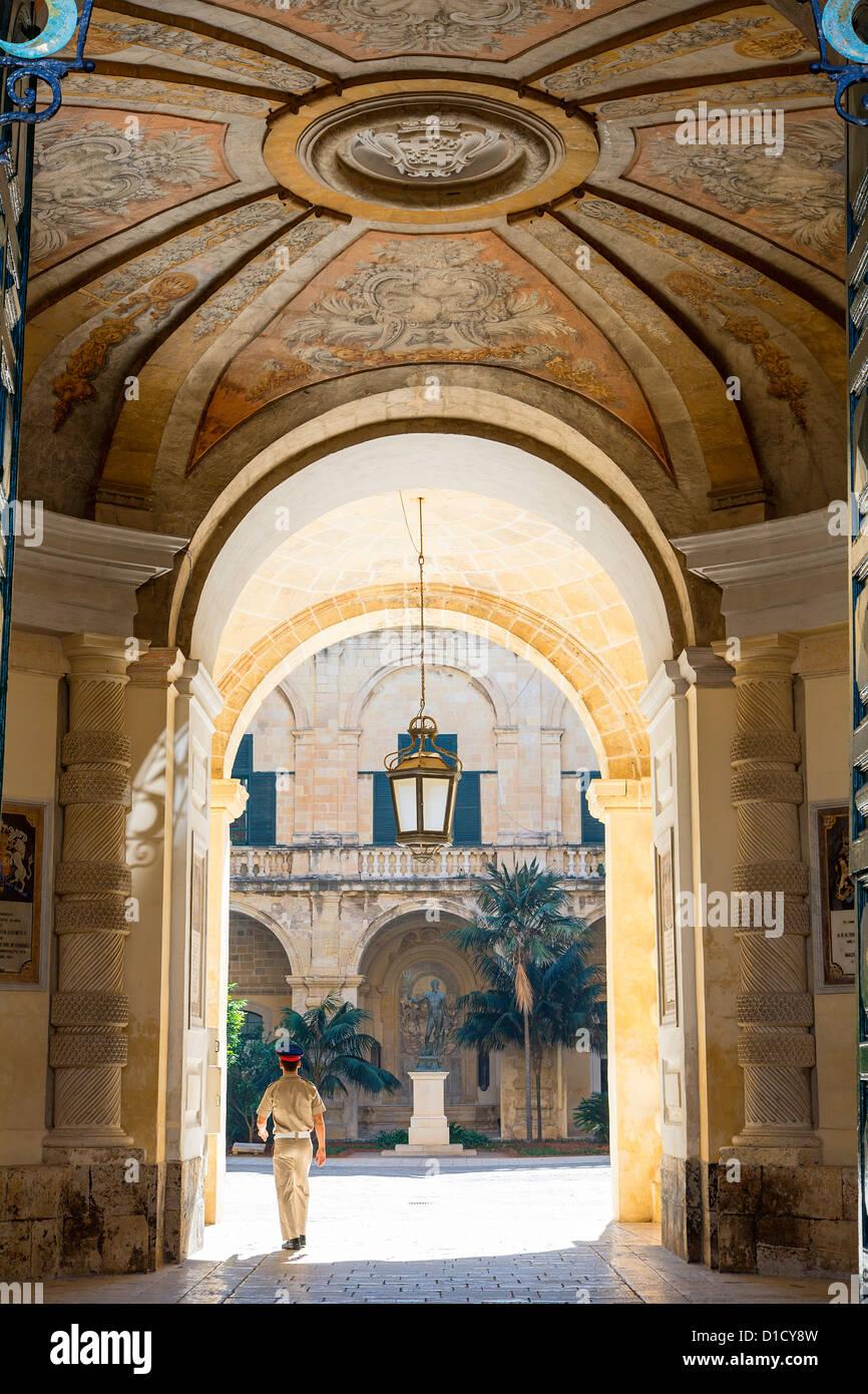 Malta, Valletta, the Presidential Palace Entrance - Stock Image
