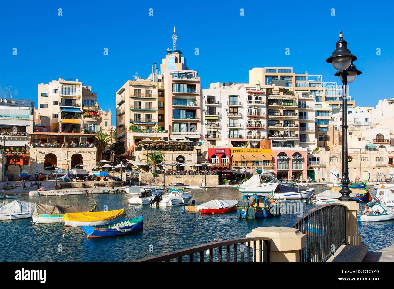Spinola Bay With Restaurants St Julians Malta Mediterranean