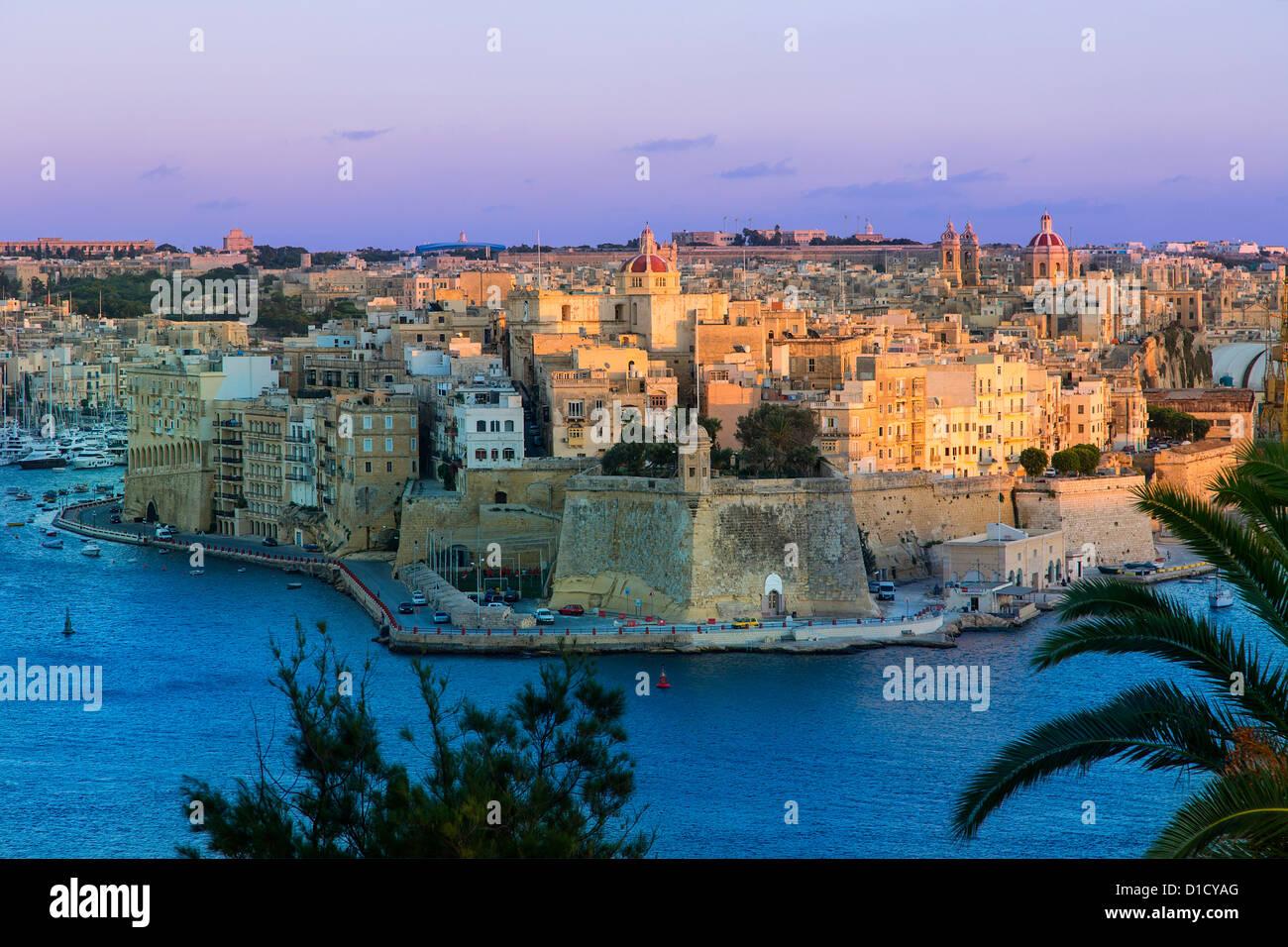Malta, Senglea view from Valletta - Stock Image