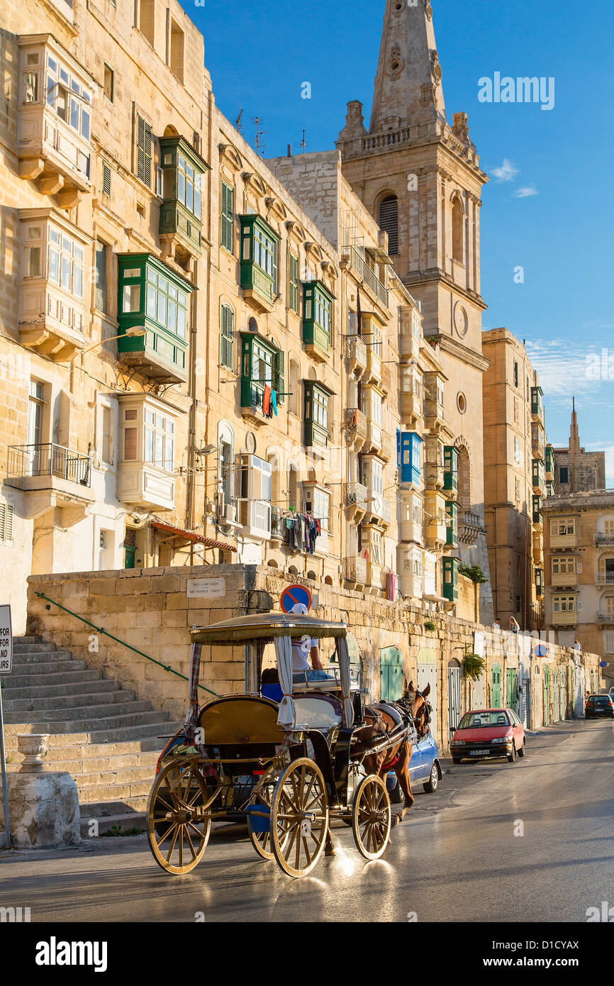 Malta, Street scene in Valletta - Stock Image