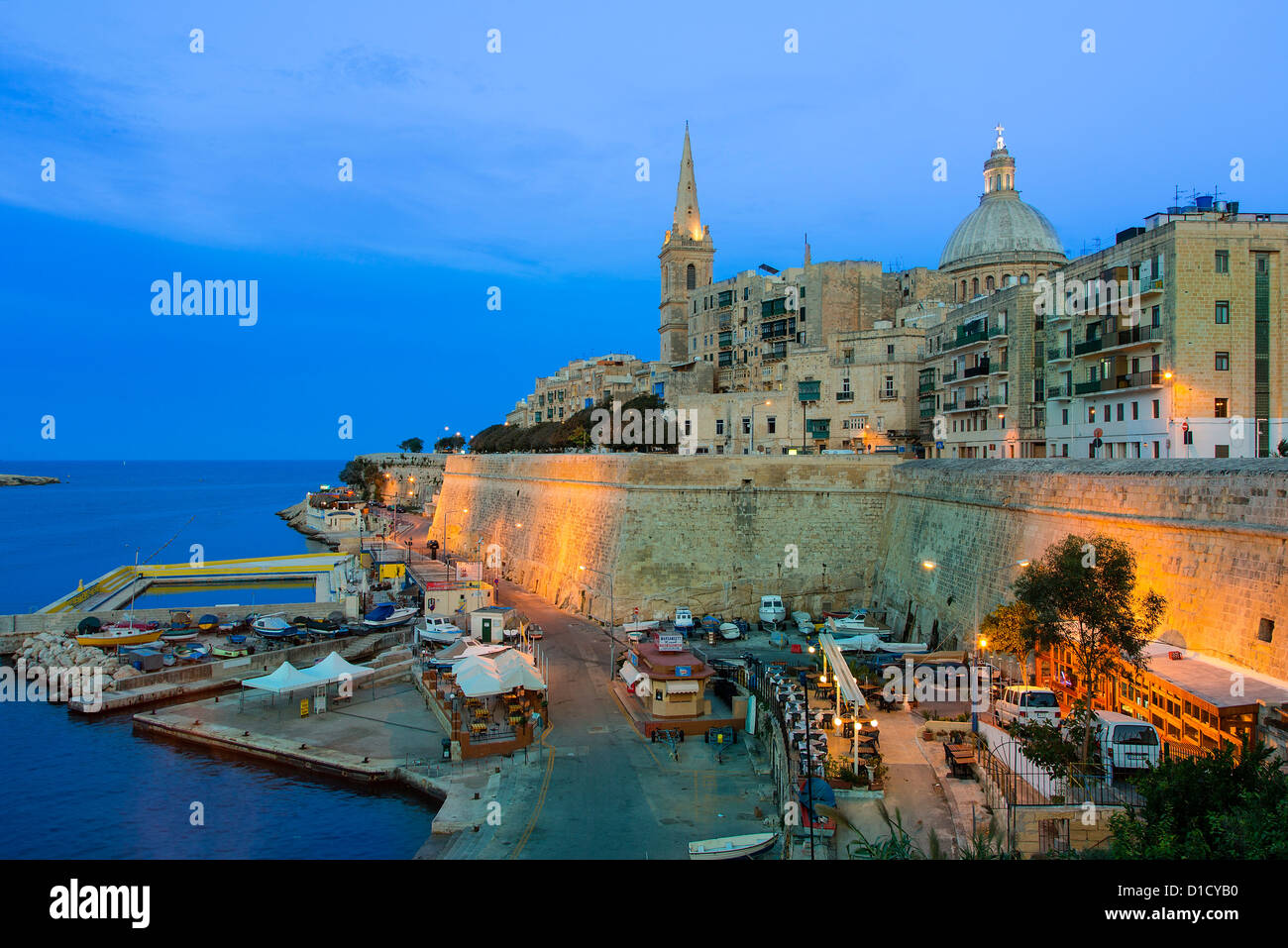 Malta, Valletta, skyline with St. Paul's Anglican Cathedral and Carmelite Church - Stock Image