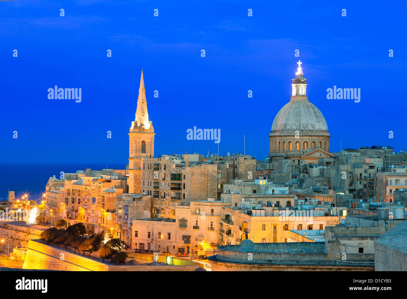 Malta, Valletta, skyline with St. Paul's Anglican Cathedral and Carmelite Church Stock Photo
