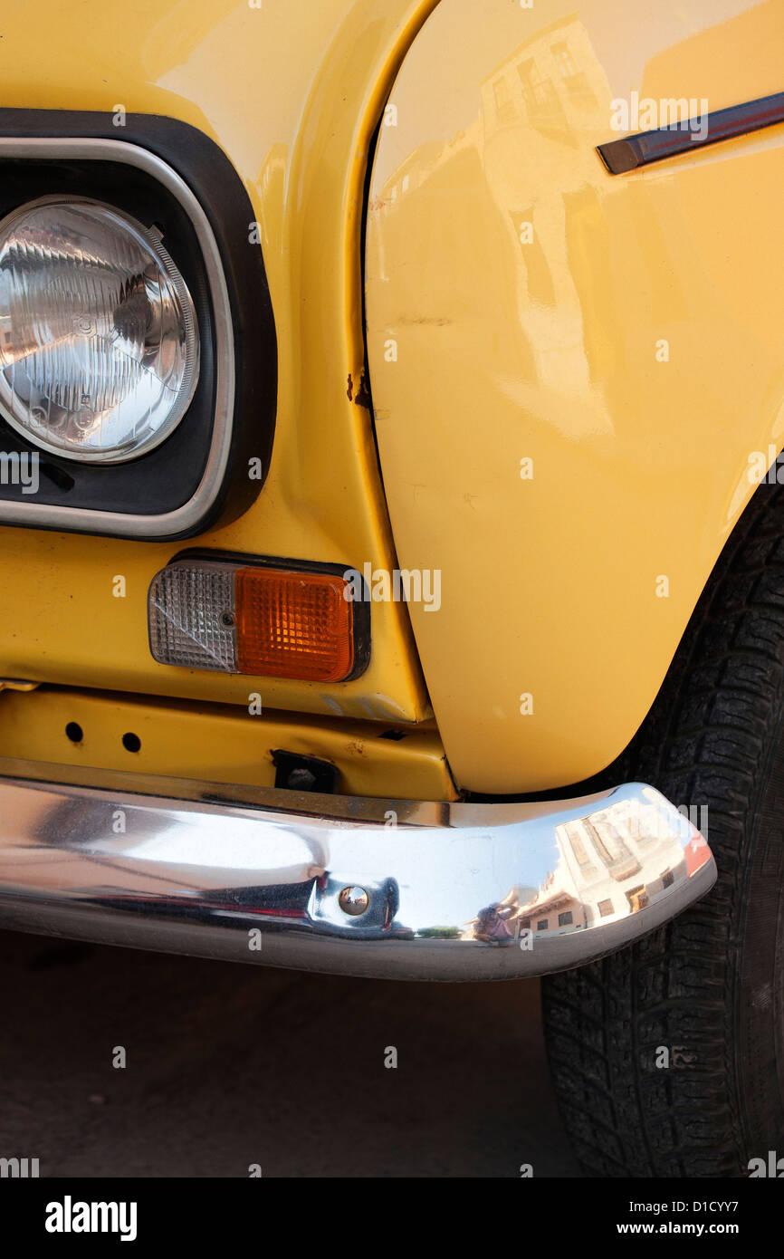Yellow Renault 4 Stock Photo