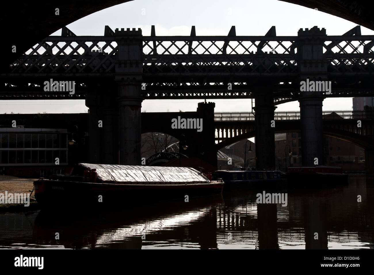 Railway viaducts and canal basin, Castlefield, (Urban Heritage Park and Conservation Area),  Manchester, England, Stock Photo