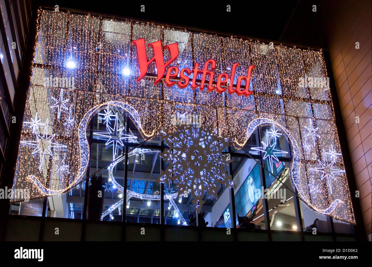Westfield Shopping Centre Stratford Shopping Centre London Christmas Lighting  Sales - Stock Image