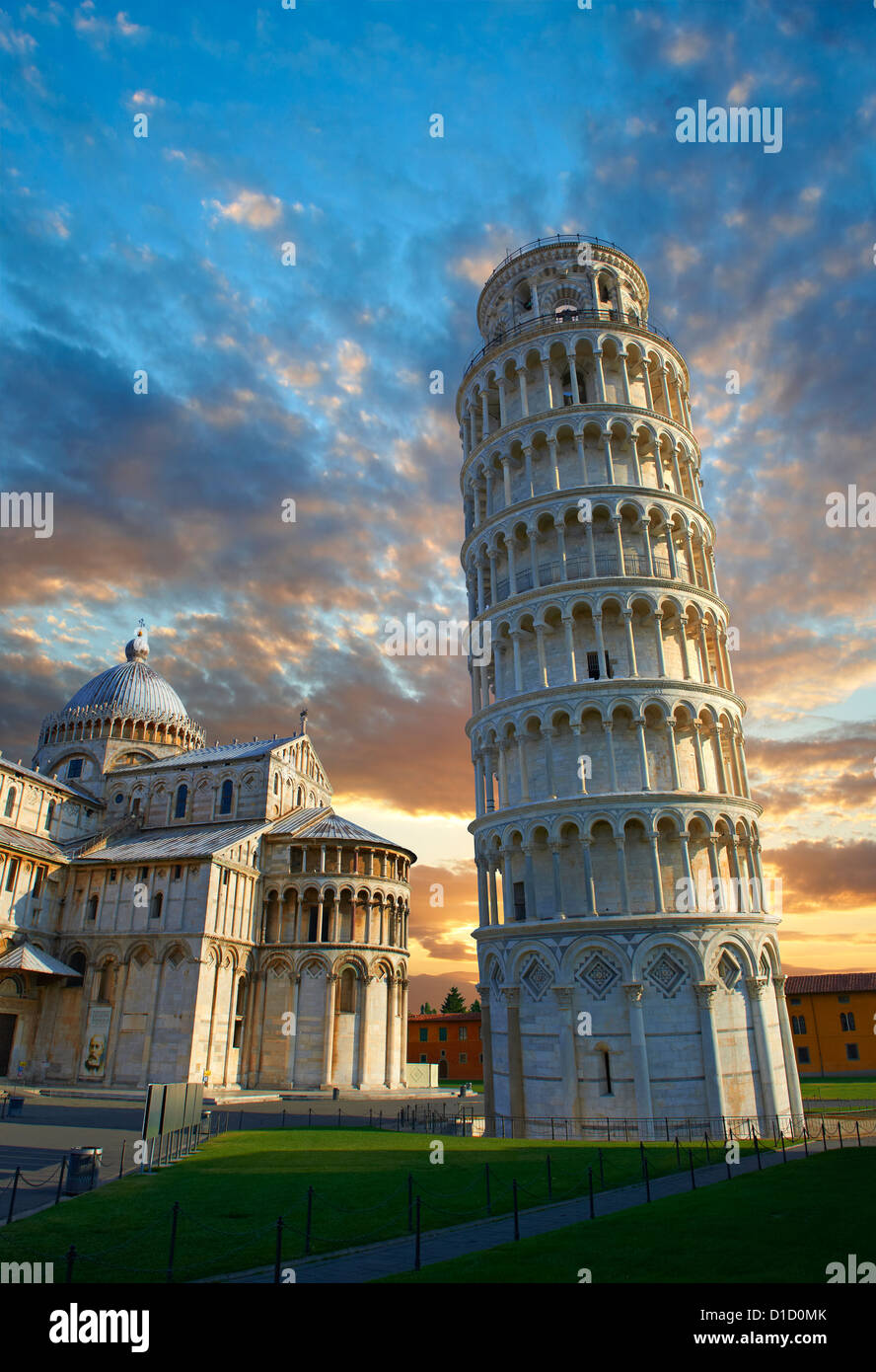 The Leaning Tower Of Pisa at sunset, Italy - Stock Image