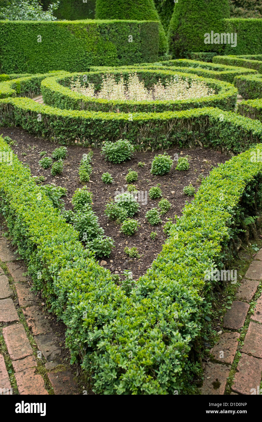 Box hedging and brick path in formal ornate garden, Gloucestershire, England, UK - Stock Image
