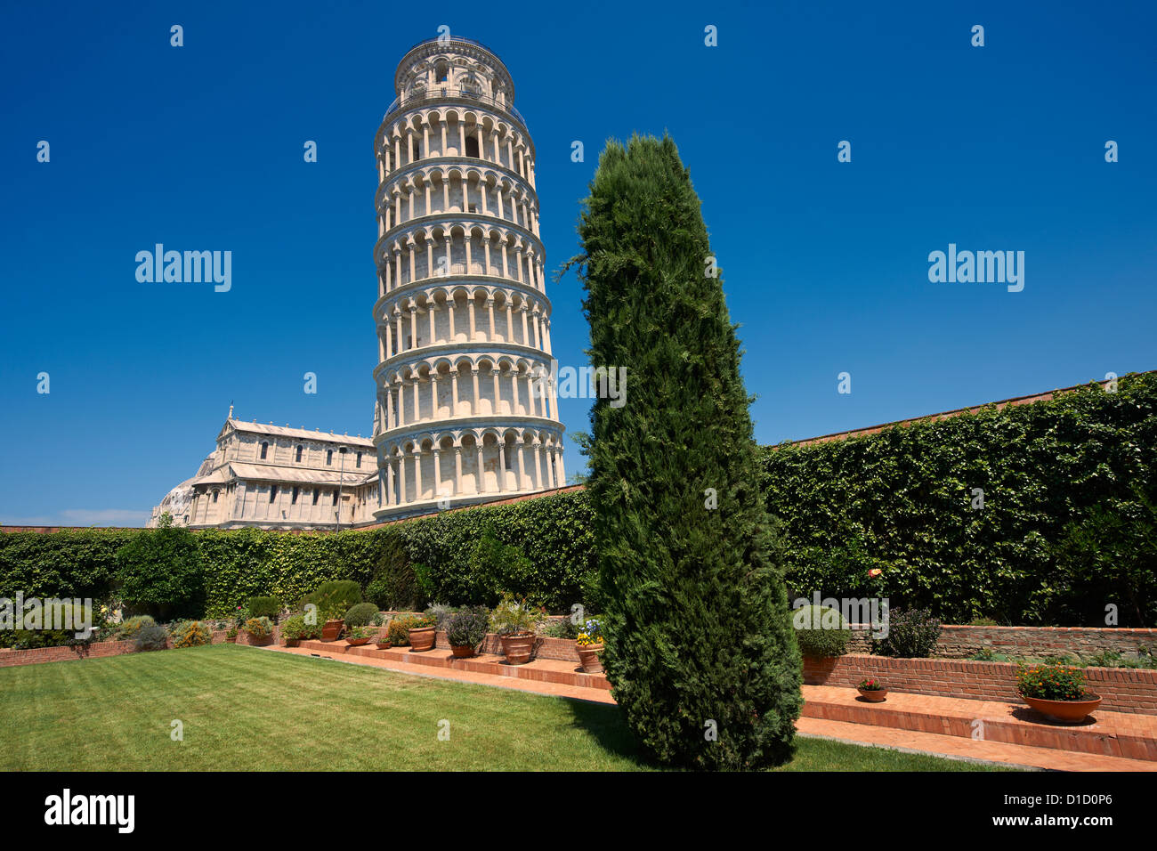The Leaning Tower Of Pisa, Italy against a blue sky Stock Photo