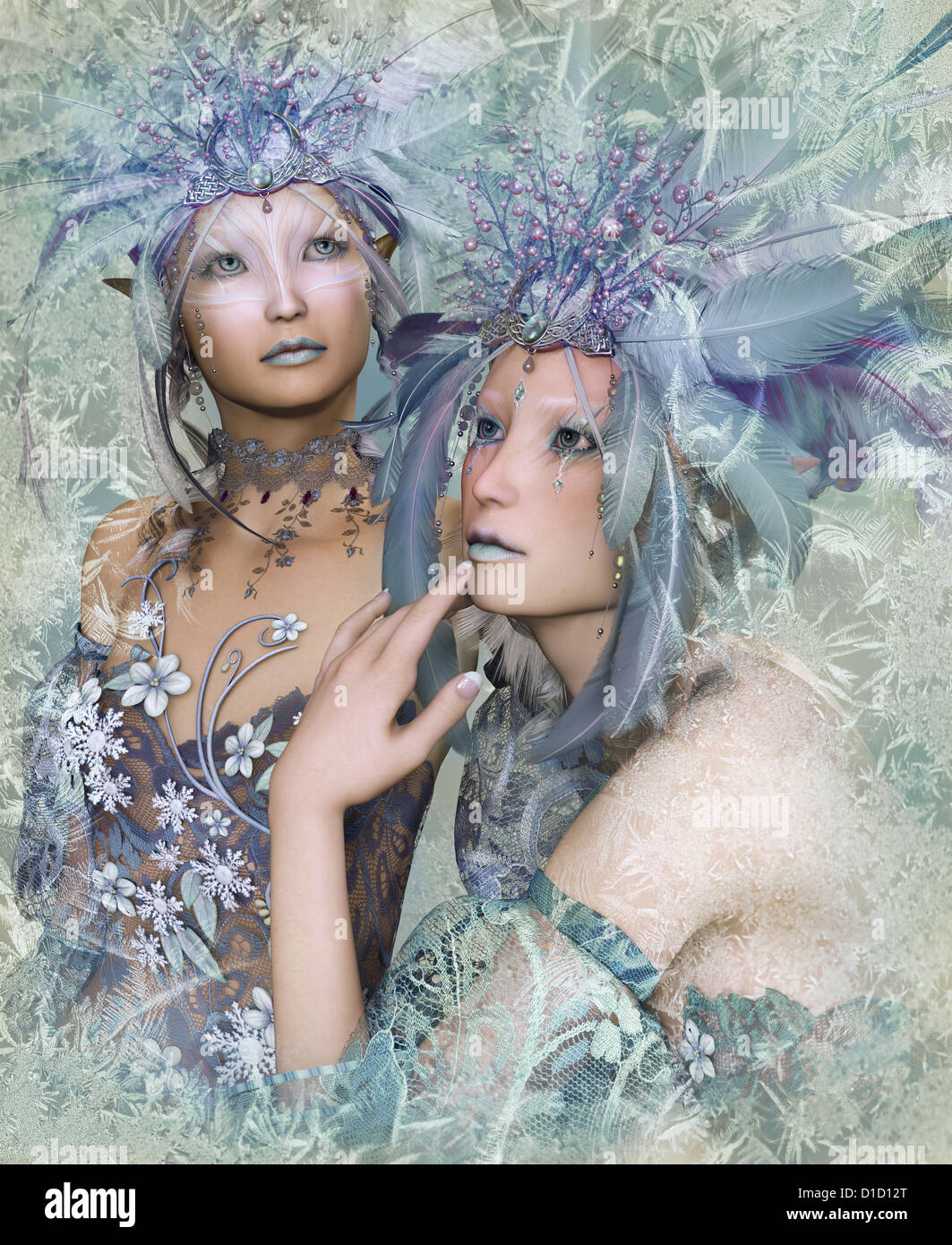 a portrait of two winter-elves with feather crowns - Stock Image