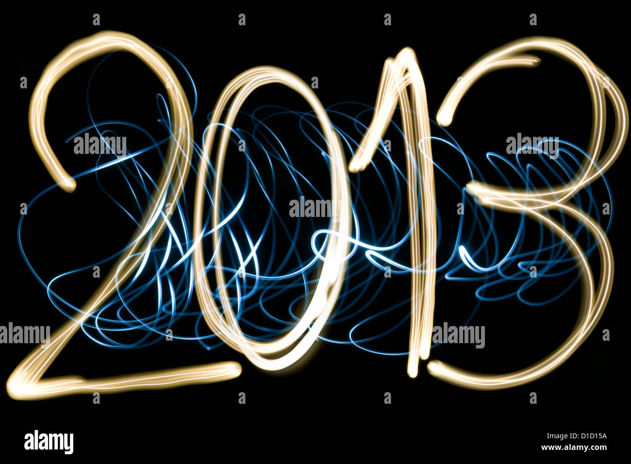 light painting new year 2013 - Stock Image