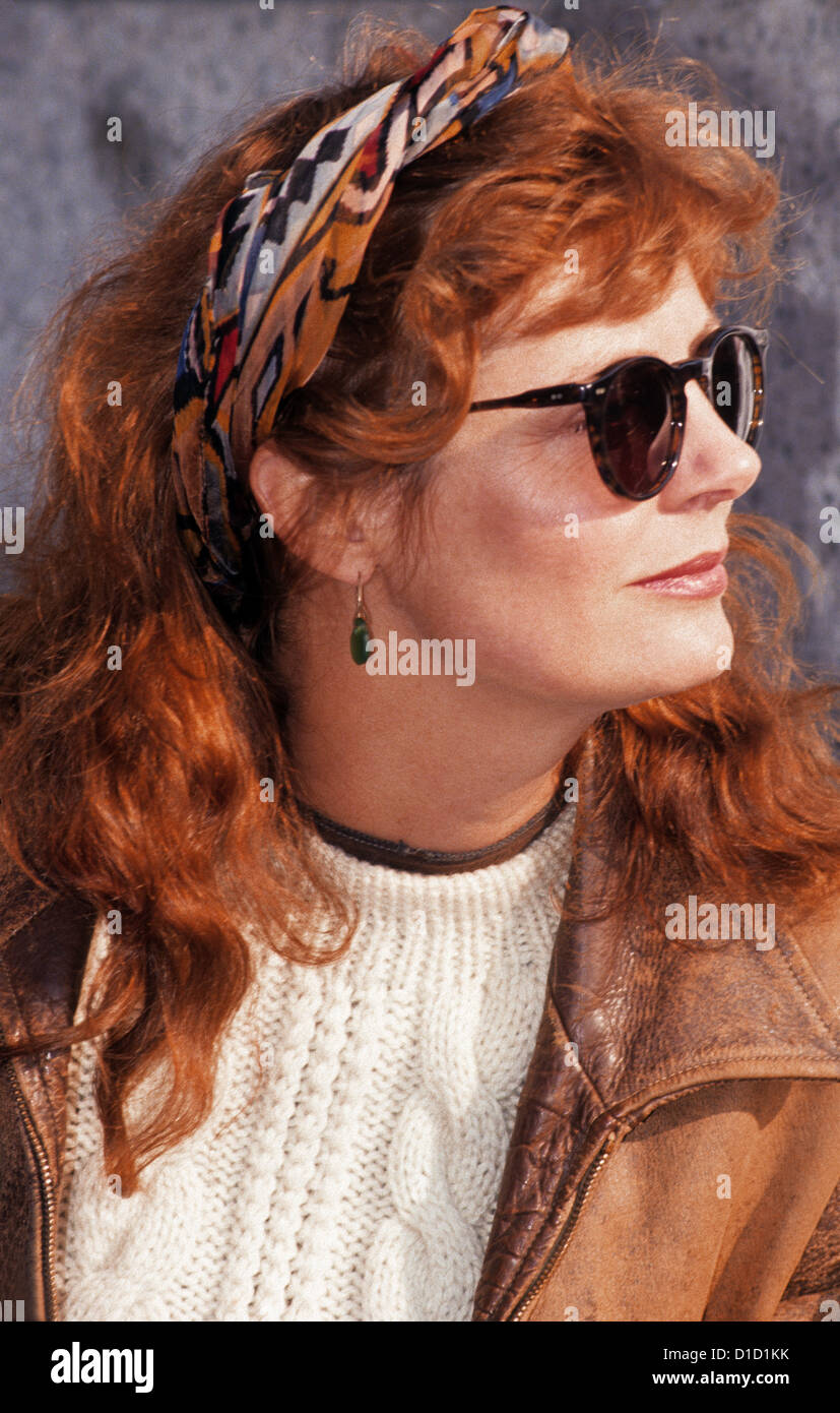New York, NY - January 1991 - Actress Susan Sarandon at a rally to protest the Gulf War, Columbia University ©Stacy - Stock Image