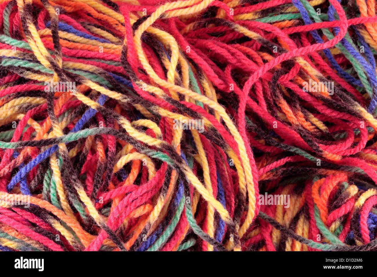 Bright Multicoloured Wool - Stock Image