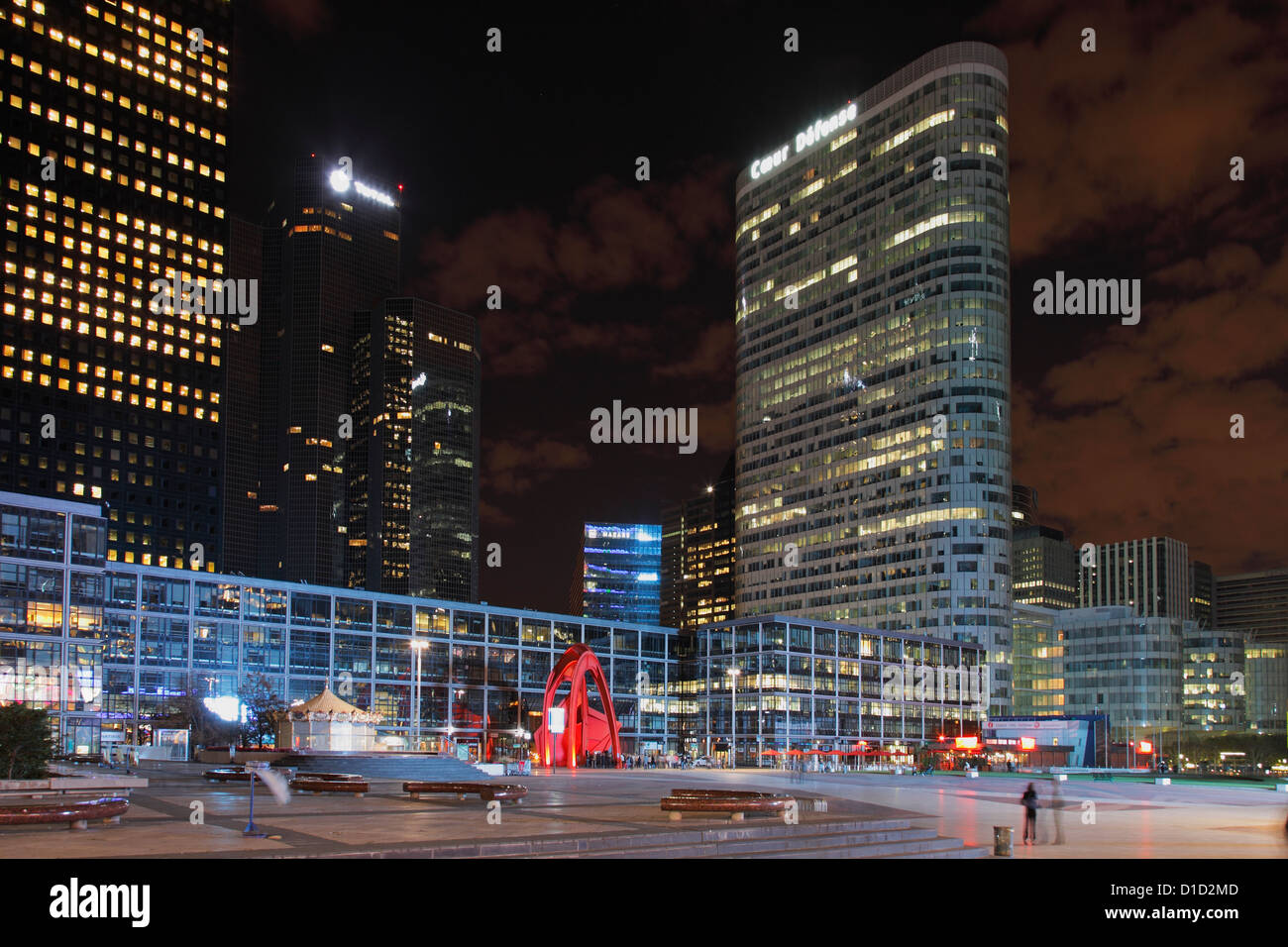 Tower Coeur Défense and headquarter of oil company TOTAL in the financial district La Défense in Paris - Stock Image