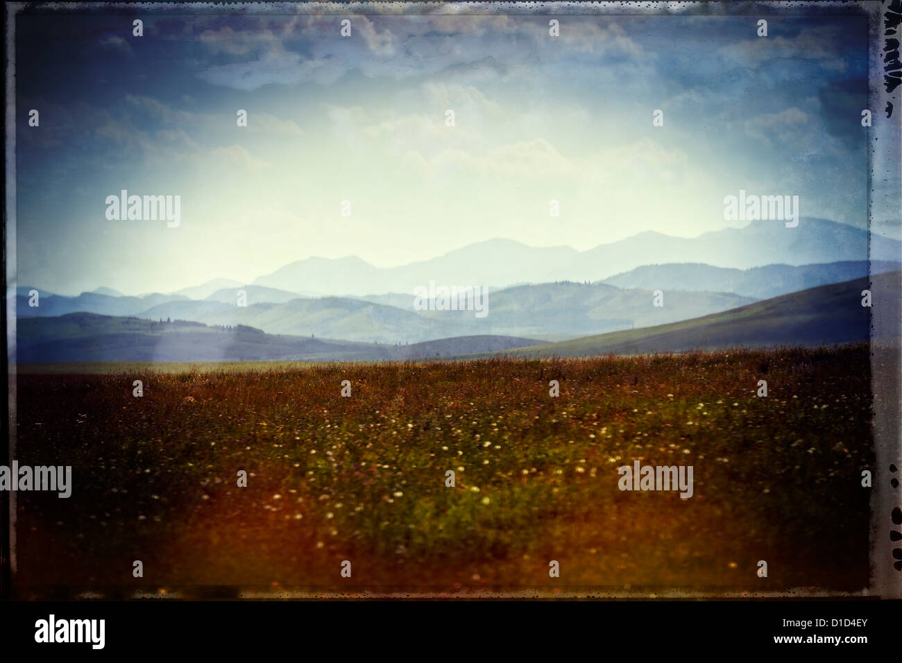 alberta prairie with the foothill in the distance - Stock Image