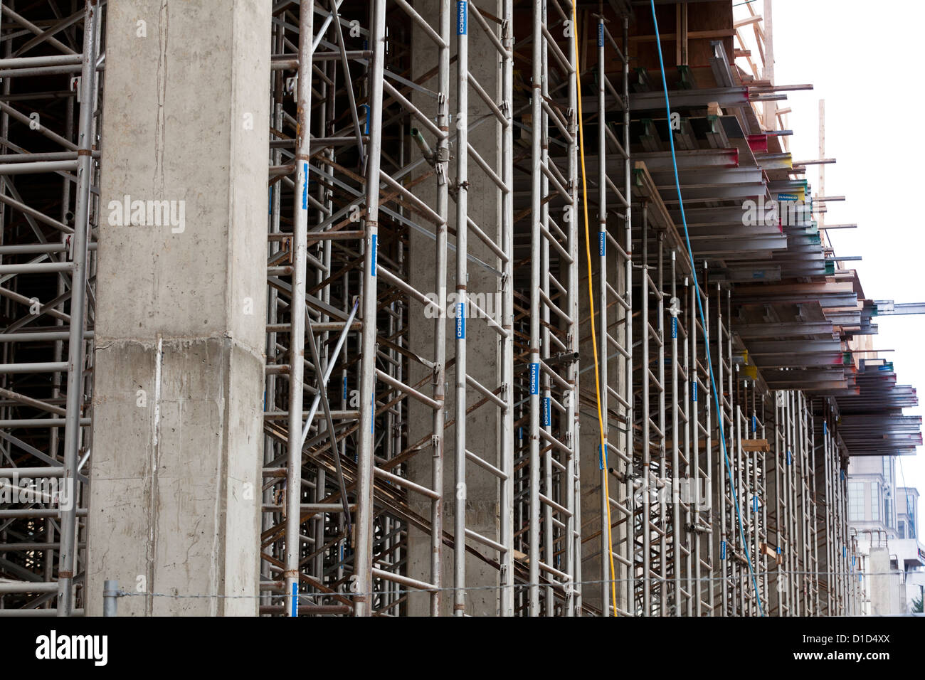 Scaffolding on construction site - Stock Image
