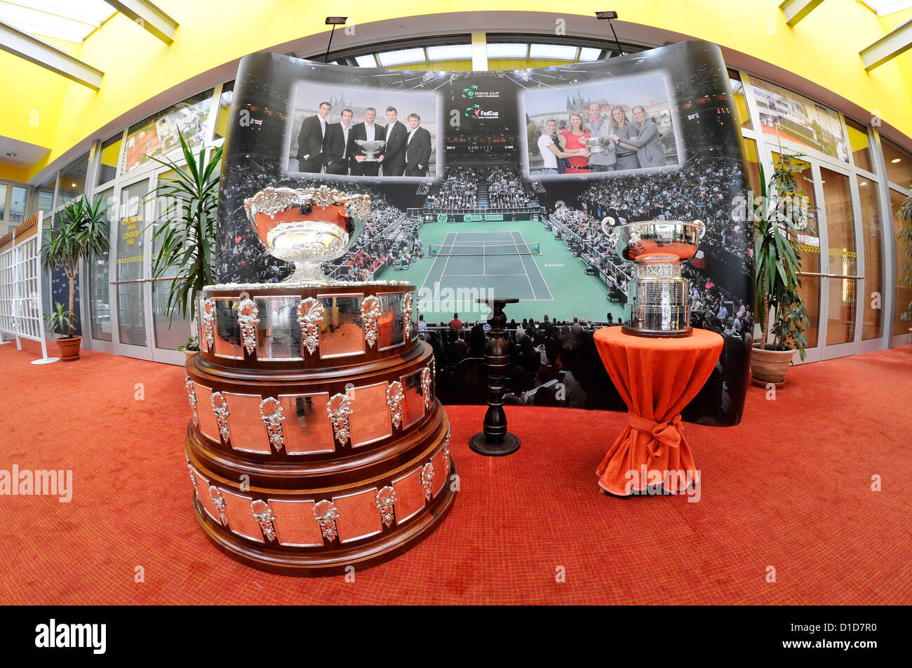 Fed Cup (left) and Davis Cup (right), tennis trophy won by the Czech tennis players this year exhibited in Prostejov, - Stock Image