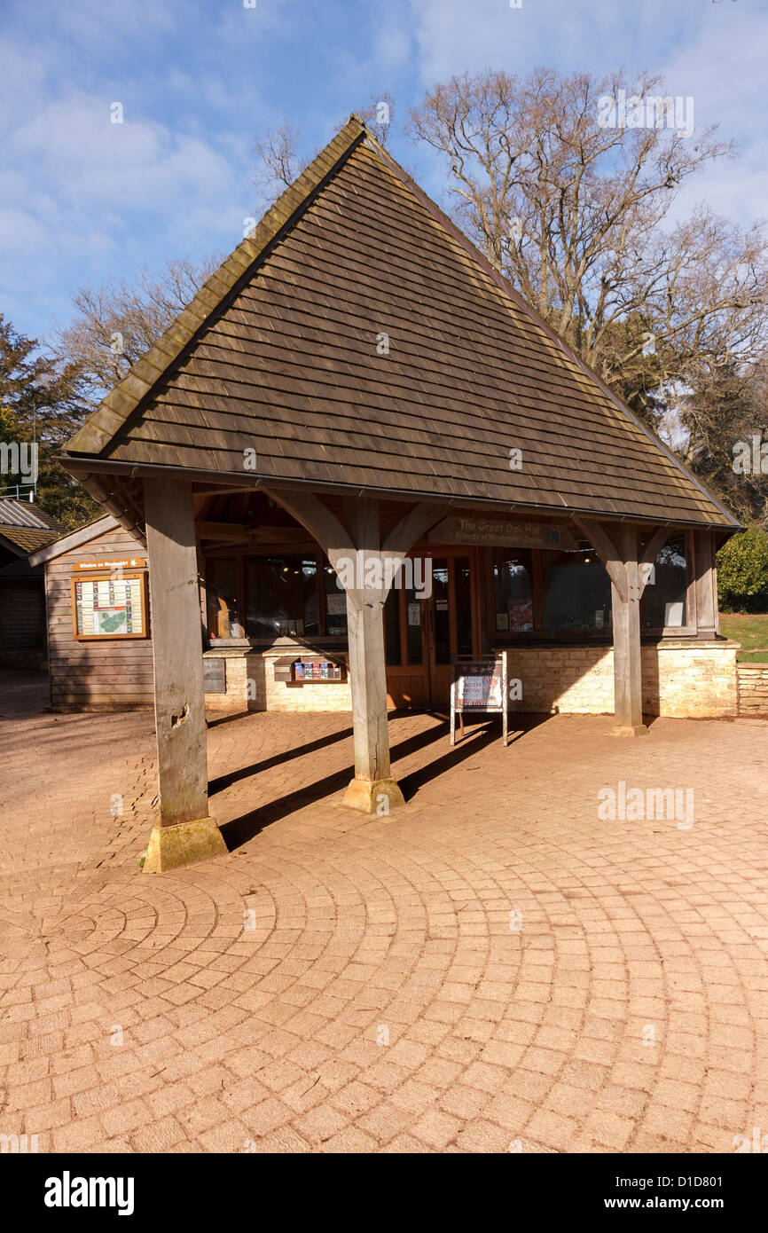 Oak post and beam entrance porch with shingle tiled roof , The Great Oak Hall, Westonbirt Arboretum, Gloucestershire, - Stock Image