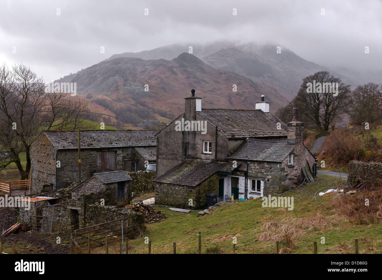 old lake district hill farm house and barn slate buildings  dale end stock photo  52537424