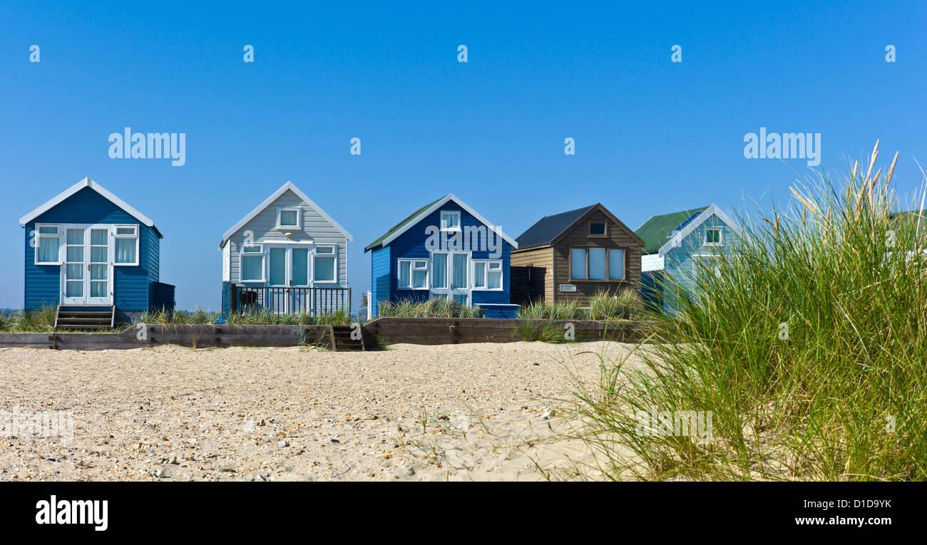Beach Huts, Christchurch Bay, Dorset, UK - Stock Image