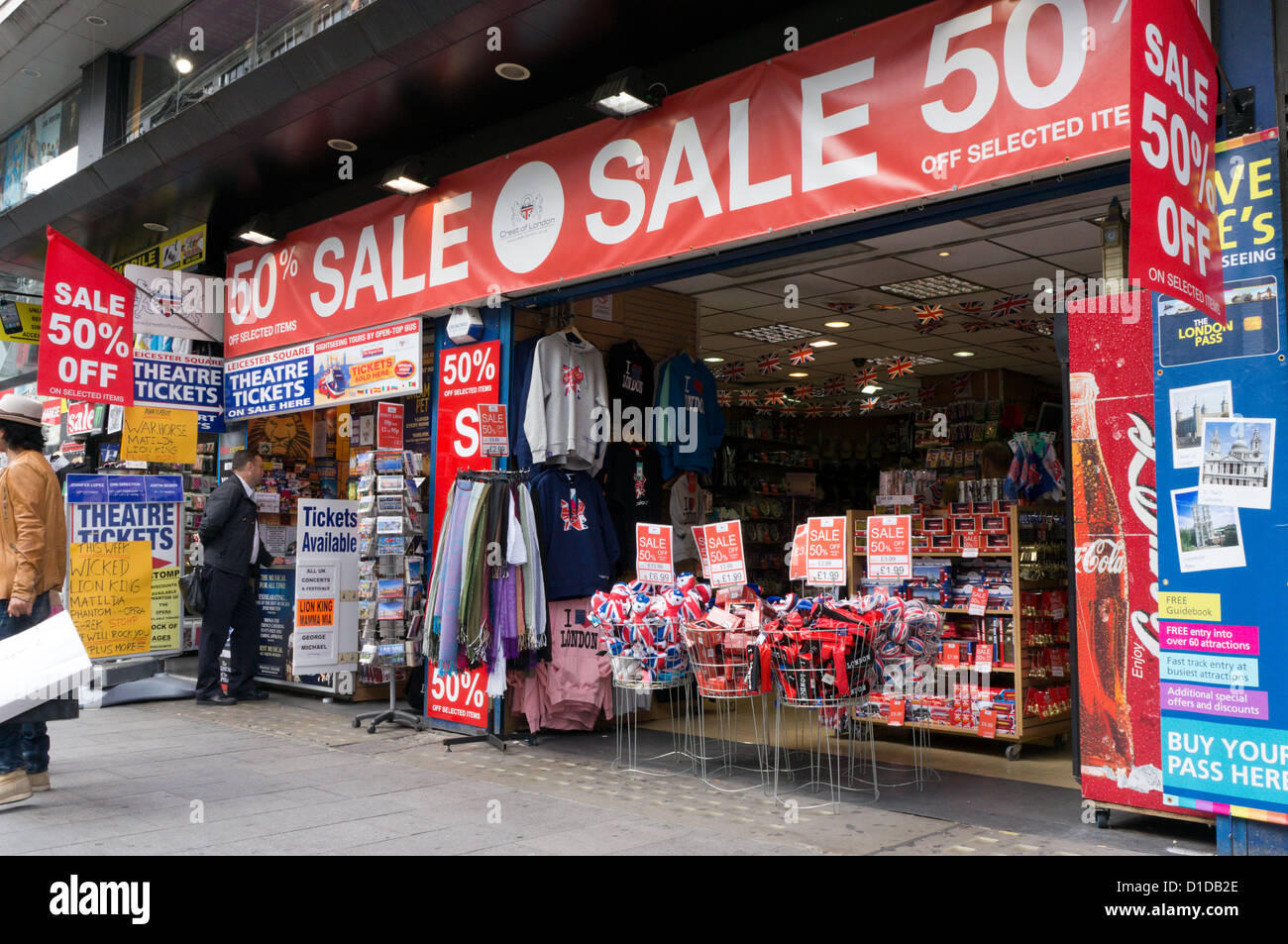 Souvenir shop in Leicester Square, London. - Stock Image