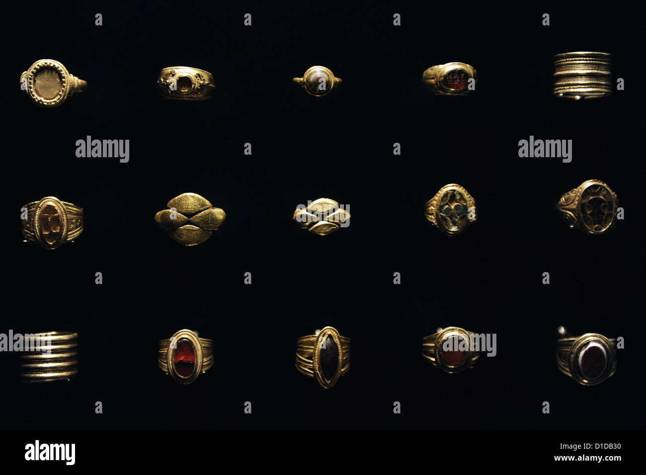Finger rings from 1st-6th centuries AD. Gold. National Museum of Denmark. - Stock Image