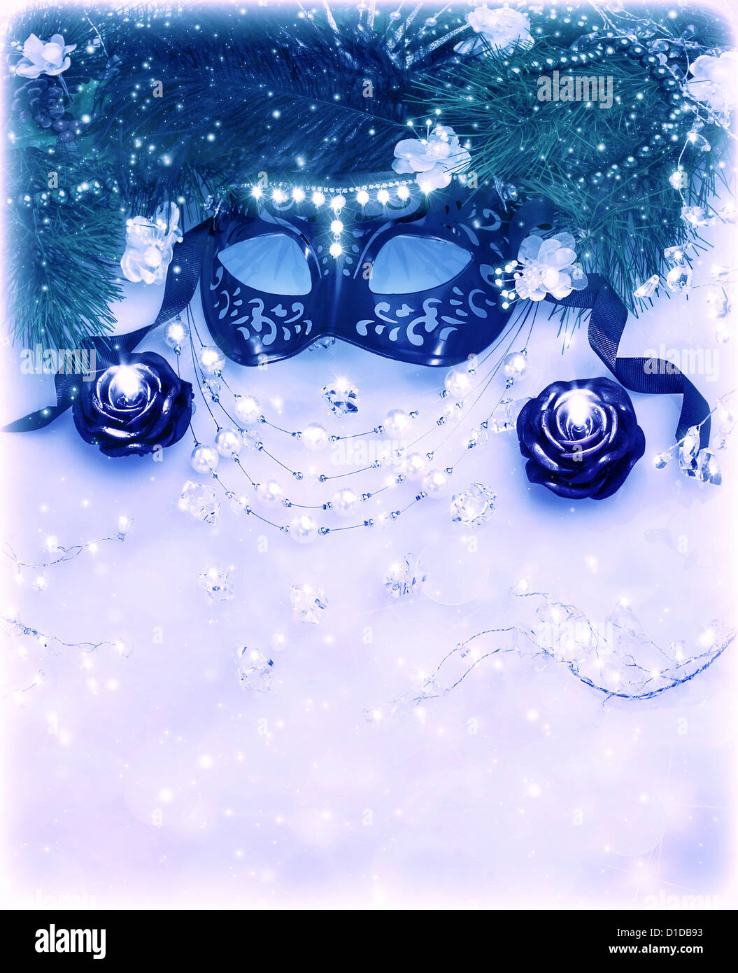 Image Of Blue Festive Border Carnival Mask With Diamonds Jewelery Pearls Necklace Luxury Masquerade Accessories On White
