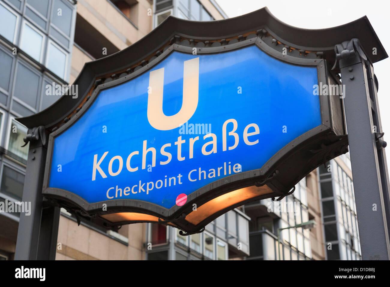 Bhf Kochstrasse underground station sign for Checkpoint Charlie on Friedrichstrasse, Berlin, Germany, Europe. - Stock Image