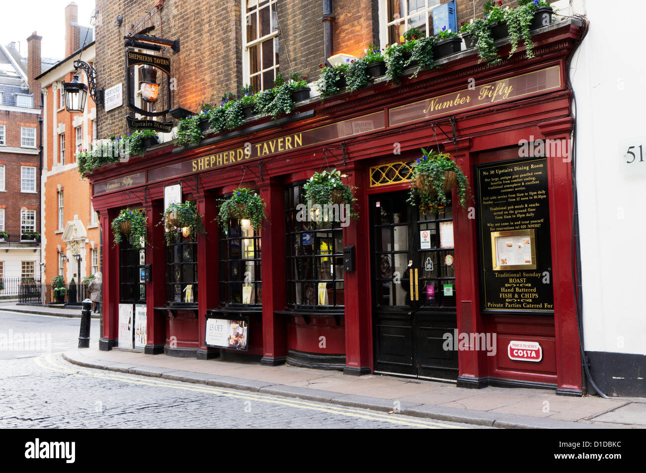 The Shepherds Tavern public house in the Shepherd Market area of Mayfair, London. - Stock Image