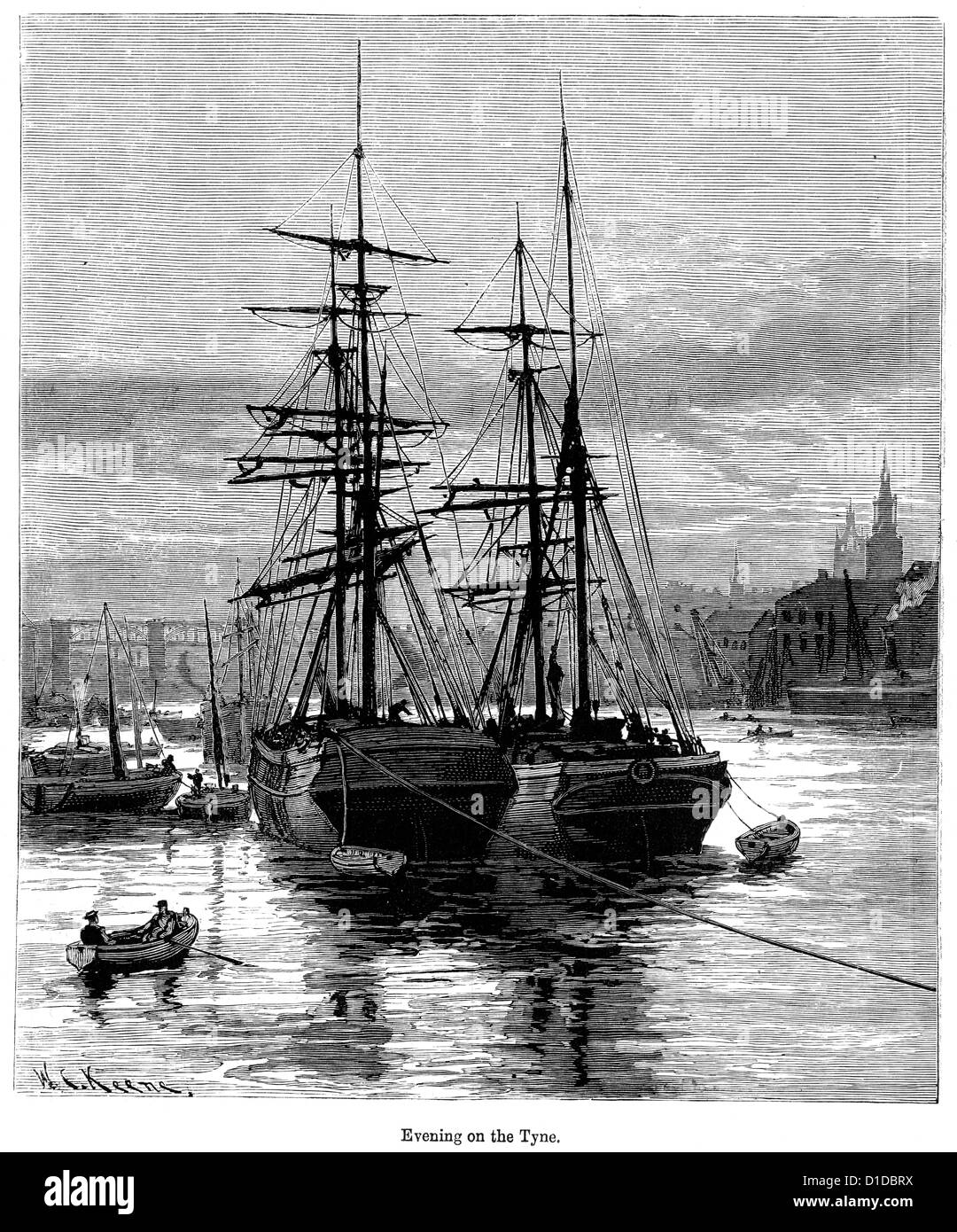 Victorian engraving of a ships moored on the River Tyne , 1897 - Stock Image