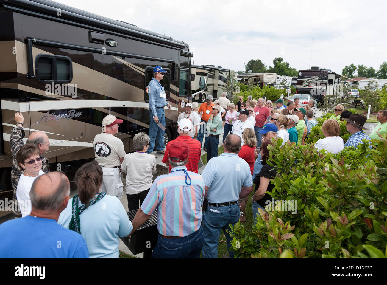 Man giving demonstration during a motor coach rally at RV resort in Brunswick, Georgia - Stock Image