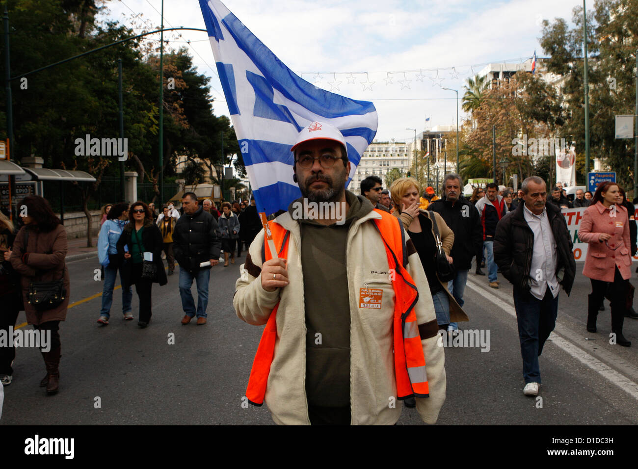 Municipal workers protest in the center of Athens against forced redundancies in the state sector. Europe's - Stock Image