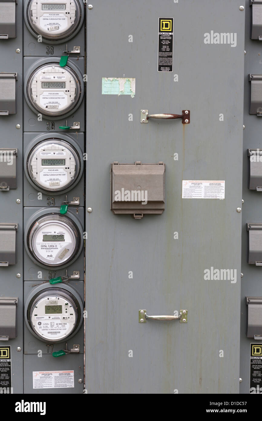 Large commercial electrical panel with usage meters Stock Photo