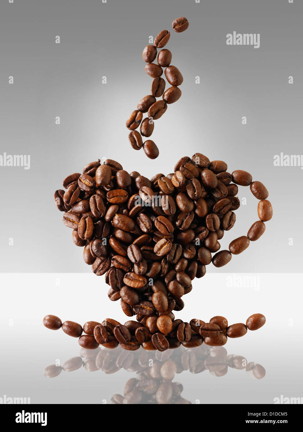 Coffee beans in the shape of a coffee cup. ' love coffee  ' - Stock Image