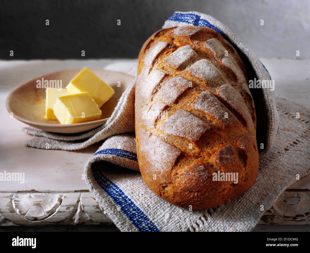 Artisan organic sourdough bread loaf - Stock Image