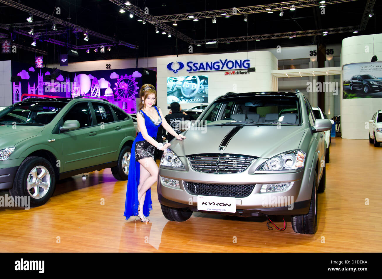 Ssanyong Kyron car with unidentified model on display at The 29th Thailand International Motor Expo on November - Stock Image