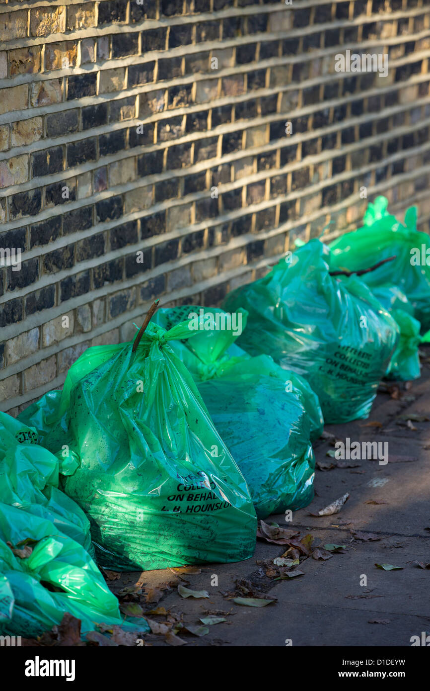 Green refuse sacks supplied by Hounslow Council and filled with autumn leaves lined up ready for collection - Stock Image