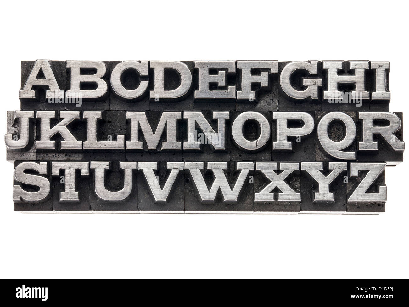 uppercase English alphabet in vintage metal letterpress type, isolated on white - Stock Image