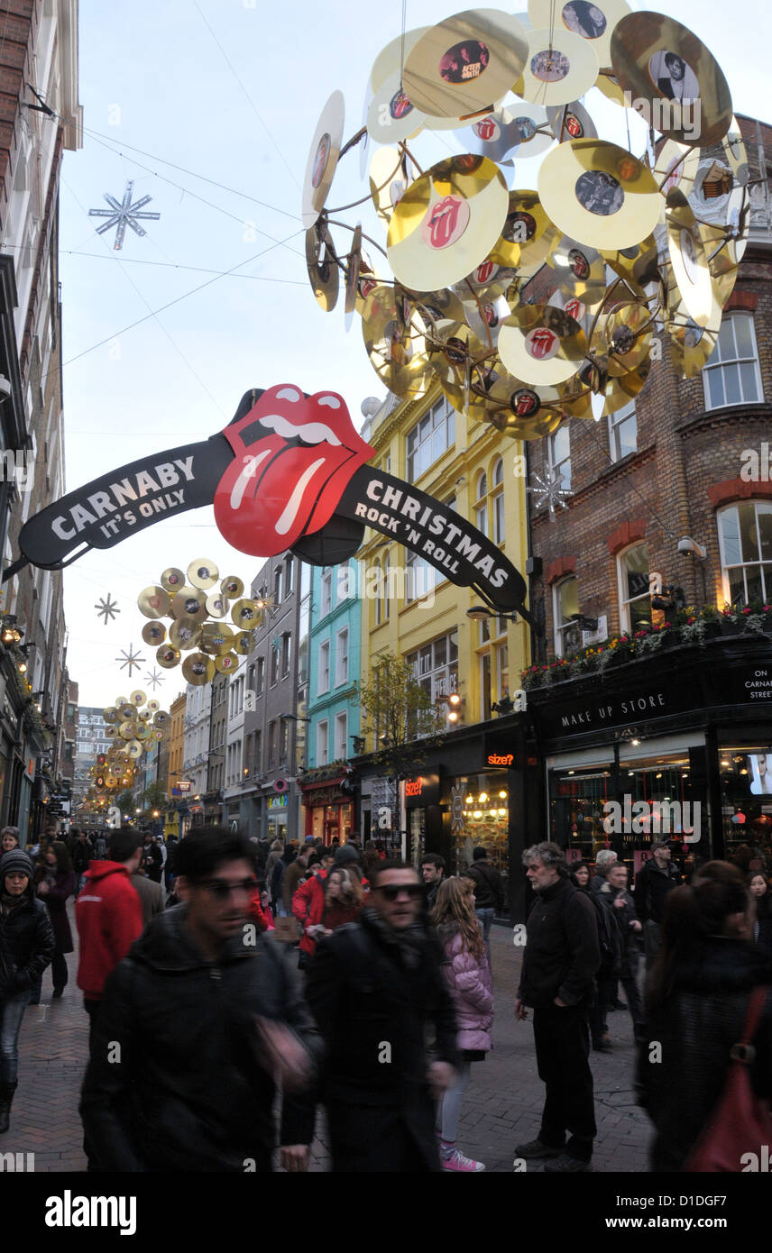Christmas lights are pictured on Carnaby Street in London, England, 30 November 2012. Photo: Carmen Jaspersen - Stock Image