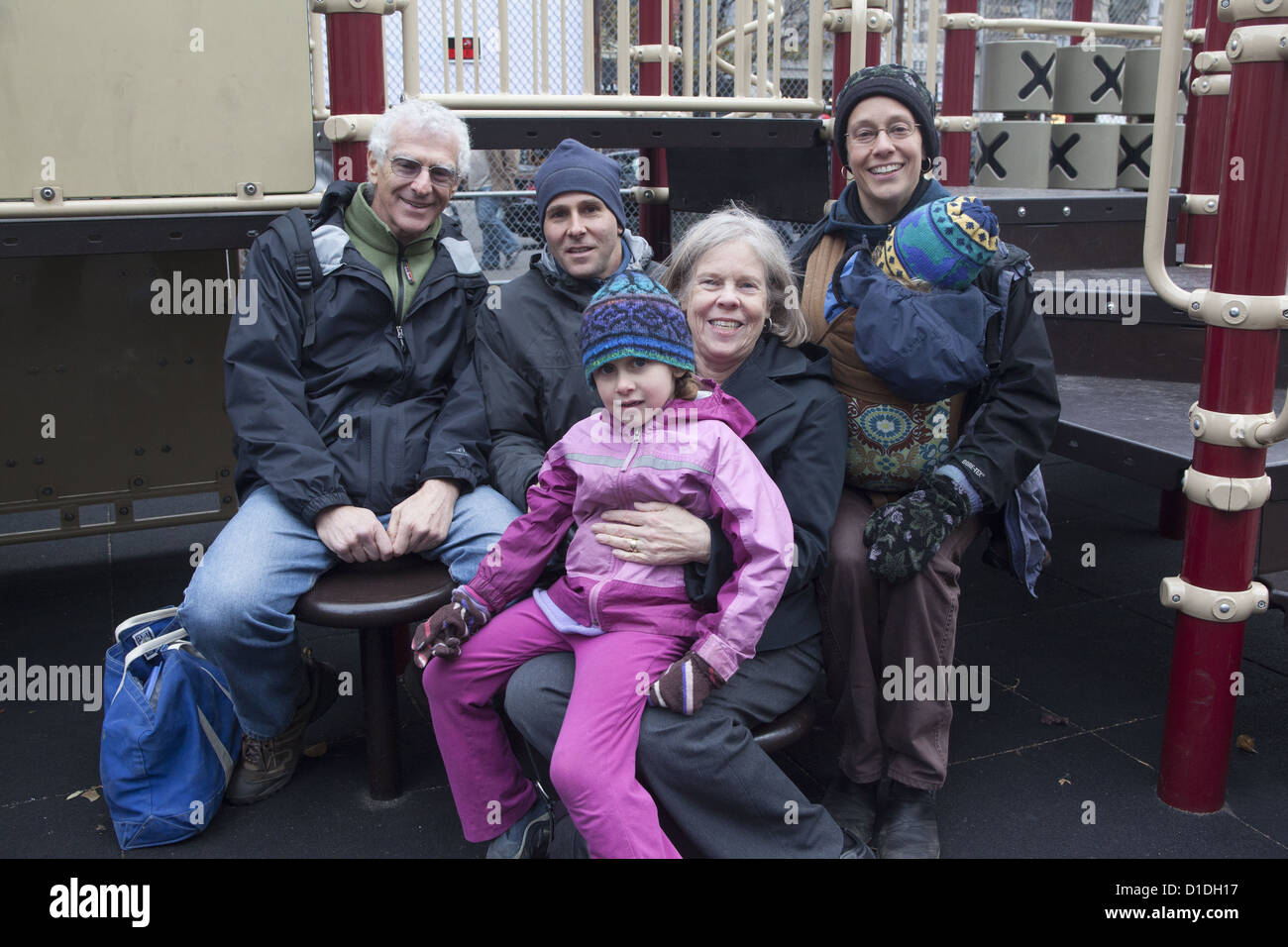 Three generation family together in New York City. - Stock Image