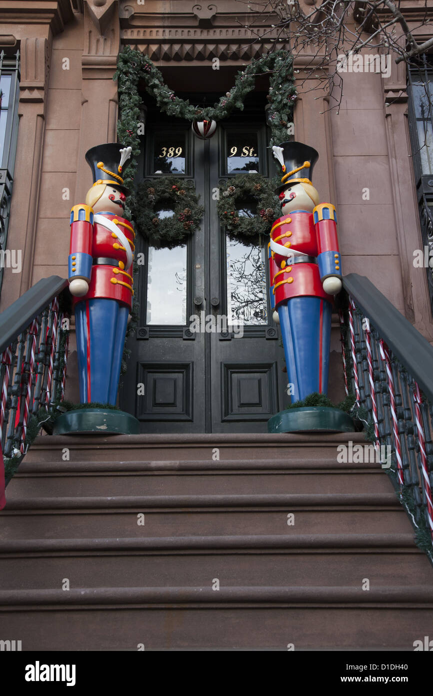 wooden soldiers as christmas decorations in front of a brownstone apartment building in park slope - Christmas Decorations Wooden Soldiers