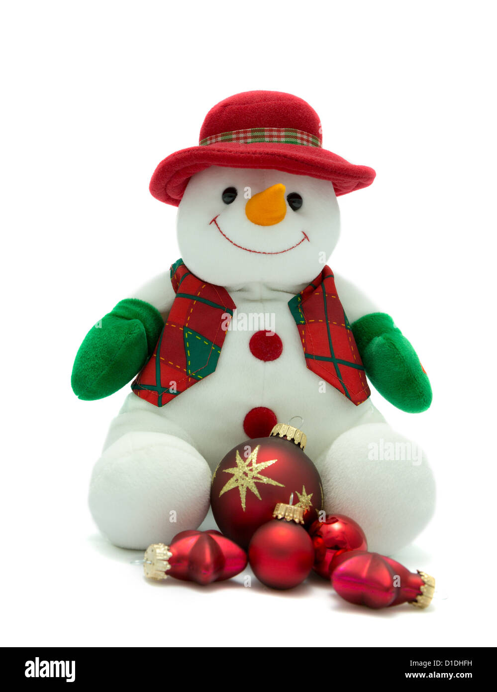 Christmas Snowman with red festive baubles - Stock Image