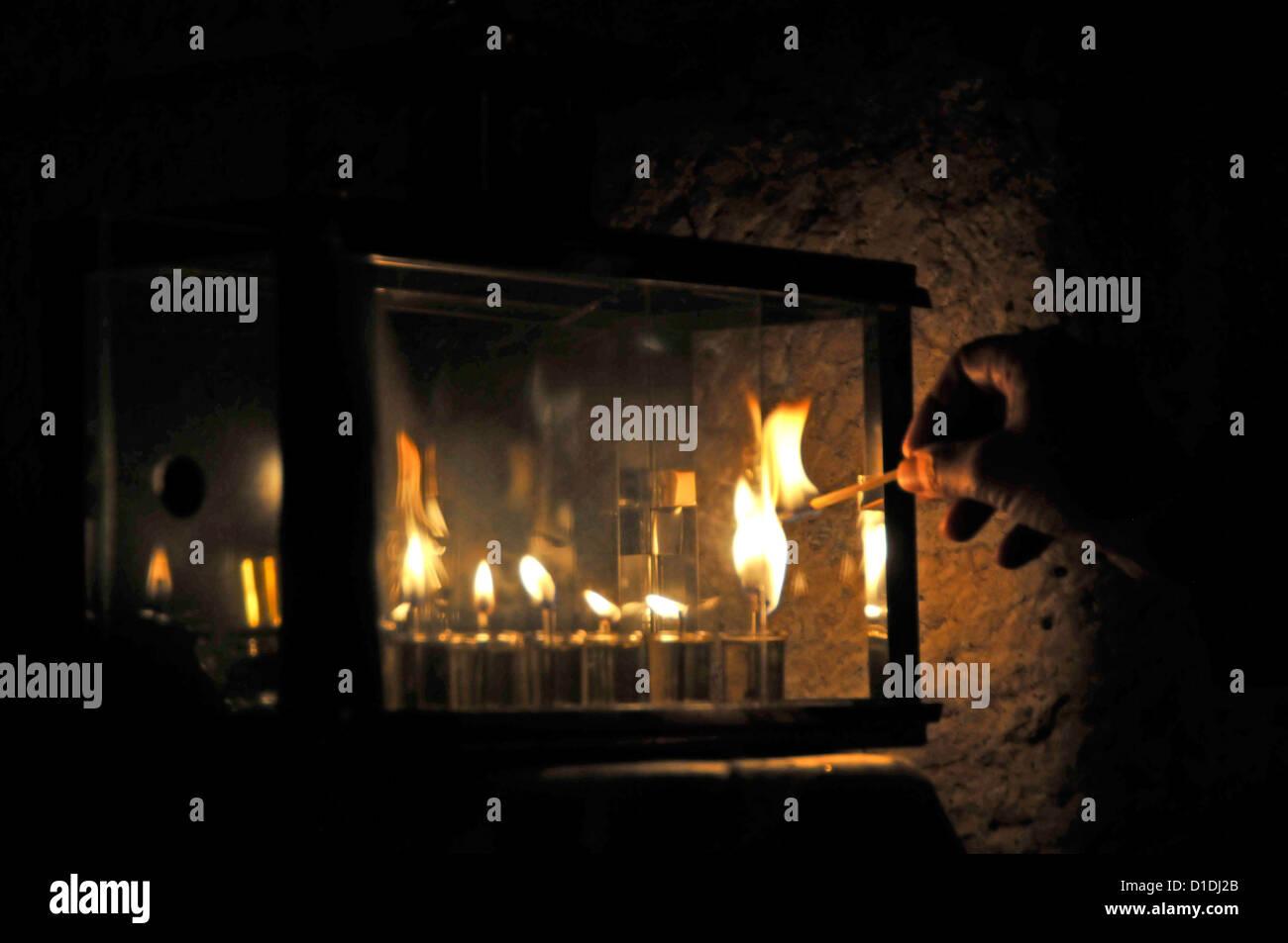 Traditional Hanukkah Candle lighting - Stock Image